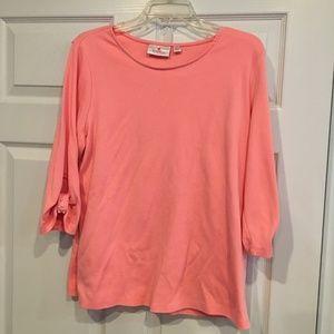 Quacker Factory Peach blouse /Detail size Large